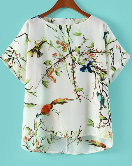 White Cut Out Back Bird with Tree Print Blouse - Sheinside.com