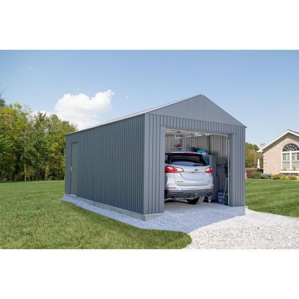 12 Ft H X 10 Ft W Steel Garage In 2020 Steel Garage Steel Garage Door Width