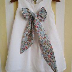 Robe de cortège blanc noeud liberty mariage cérémonie petite fille d'honneur 2 ans 4 ans 6 ans 8 ans