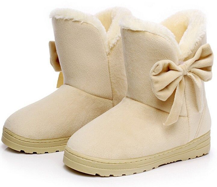 HEE GRAND Solid Bowtie Slip-On Soft Cute Women Snow Boots Round Toe Flat Winter Shoes