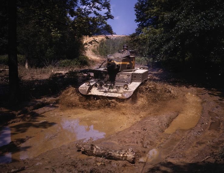 An M3 Stuart light tank going through water obstacle Ft Knox Ky June 1942 by Alfred Palmer [8294  6412] x-post /r/HI_Res