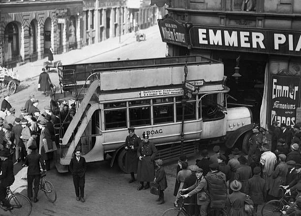 Germany, Berlin: Omnibus crashing the window of a piano store.1928