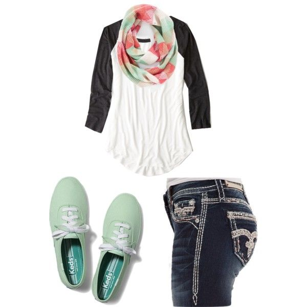 A fashion look from January 2015 featuring American Eagle Outfitters t-shirts, Rock Revival jeans and Keds sneakers. Browse and shop related looks.