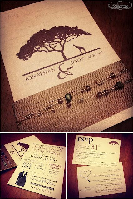 African themed wedding invitations using earthy tones and beaded wire @Isn't It Romantic