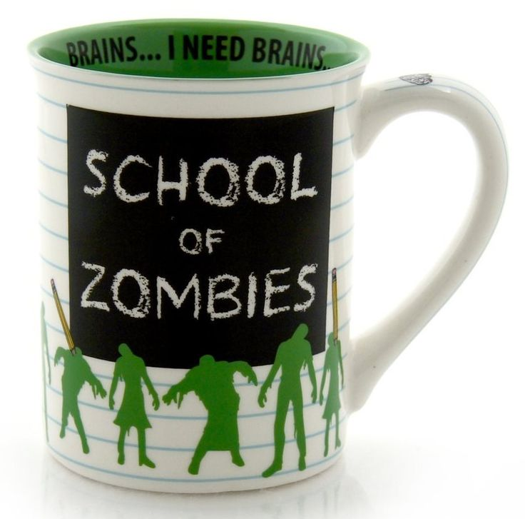 School of Zombies coffee mug reads, Brains...I need Brains!
