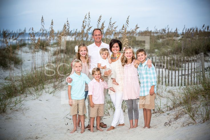 Family beach portrait. Hilton Head Island, SC. Great wardrobe choices! Everyone's outfits work together without being too matchy.