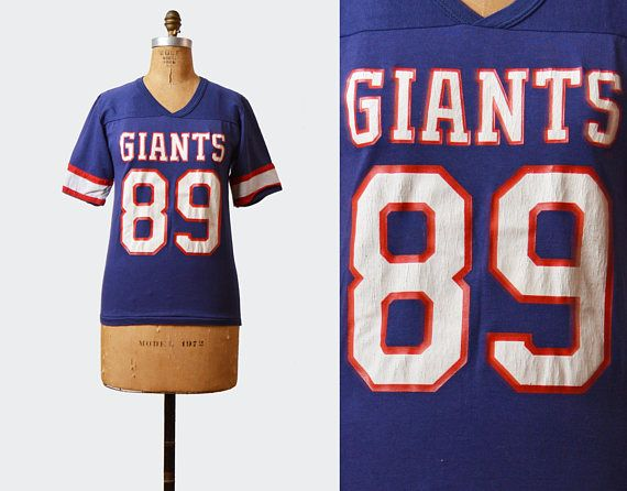 Vintage 80s Football Shirt New York Giants Jersey 89 Tshirt 1980s American Football T Shirt Retro Tee Football Tshirts New York Giants Jersey Football Shirts