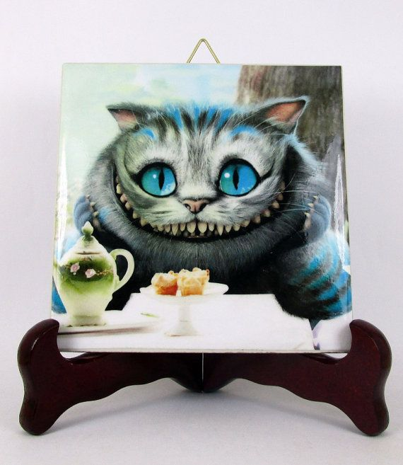 Cheshire Cat Ceramic Tile / Coaster / Magnet Tim by TerryTiles2014