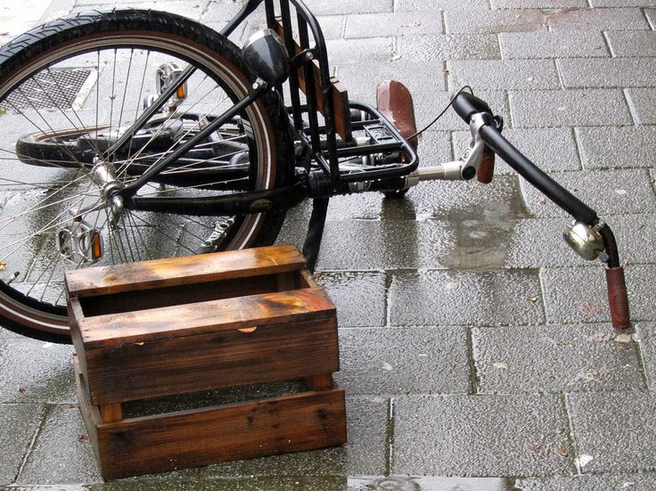 bicycle fallen down after a storm