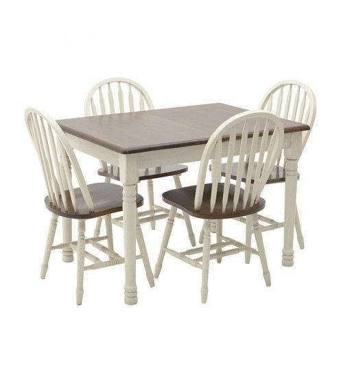 S_5 WOODEN DINING TABLE IN WHITE_BROWN COLOR W_4 CHAIRS