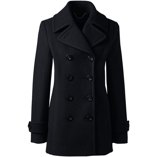 Lands' End Women's Petite Insulated Wool Peacoat ($199) ❤ liked on Polyvore featuring outerwear, coats, black, lands end coats, pea jacket, wool pea coat, peacoat coat and petite coats