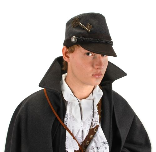 Grey Cadet WWII Military Hat - You'll be giving the orders instead of taking them with this steampunk-inspired cadet hat. The suede fabric and rope trim provide a comfortable fit and official look. #military #yyc #costume #hat #classic