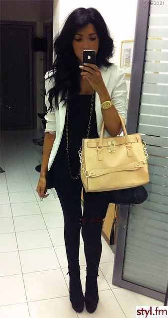 Outfit with black and white blazer