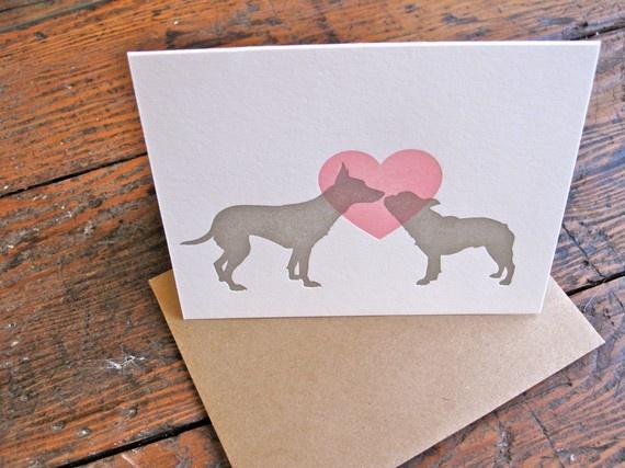 Puppy Love Valentine Letterpress Card