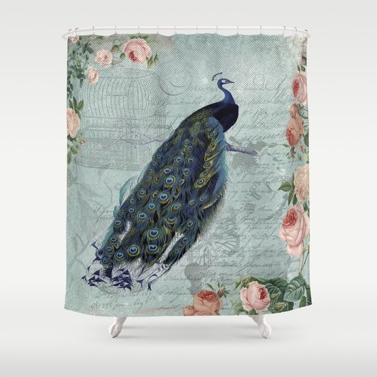 Vintage Victorian Peacock Bird and Roses Illustration on #Society6 Shower Curtain