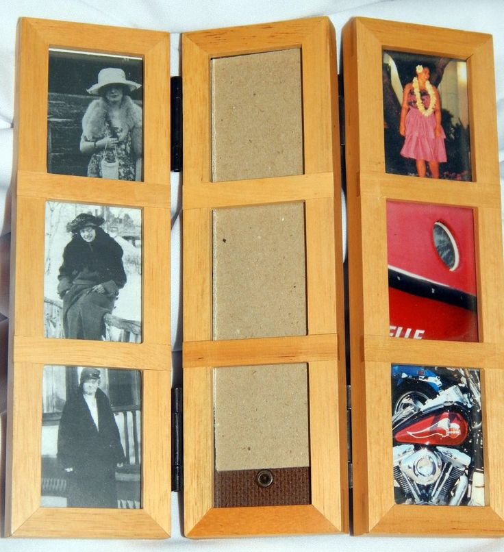 trifold folding solid wood standing picture frame holds 9 photos photos pictures and woods