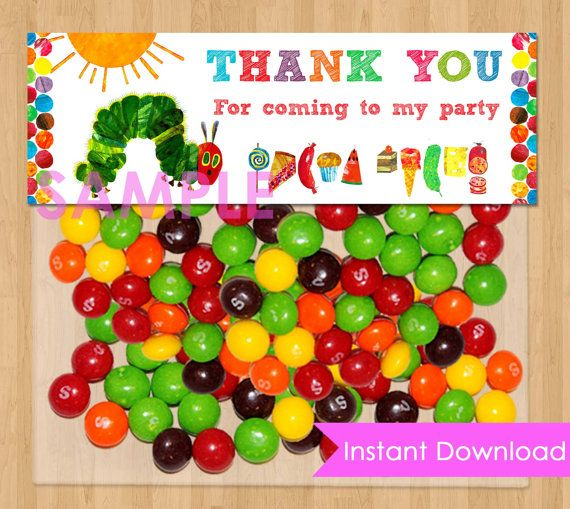 Very Hungry Caterpillar Favor Bag Toppers - INSTANT DOWNLOAD Printable for Party Treat or Candy Loot Bags - matches Birthday Invitation.  Cute.  Baggie sized.  $3