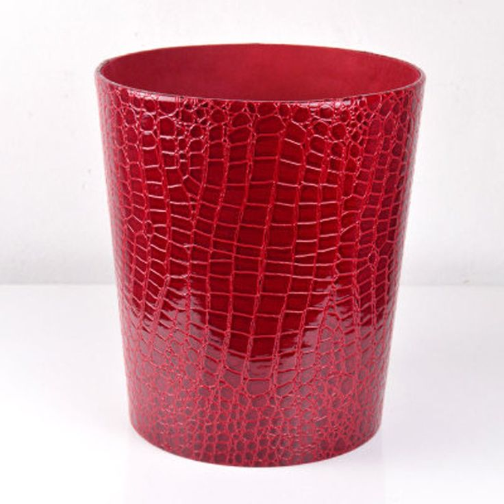 bathroom wastebasket.  35 99 7 shipping Creative Waterproof Leather Trash Can Wine red 11 best Red gold bathroom wastebasket images on Pinterest Gold