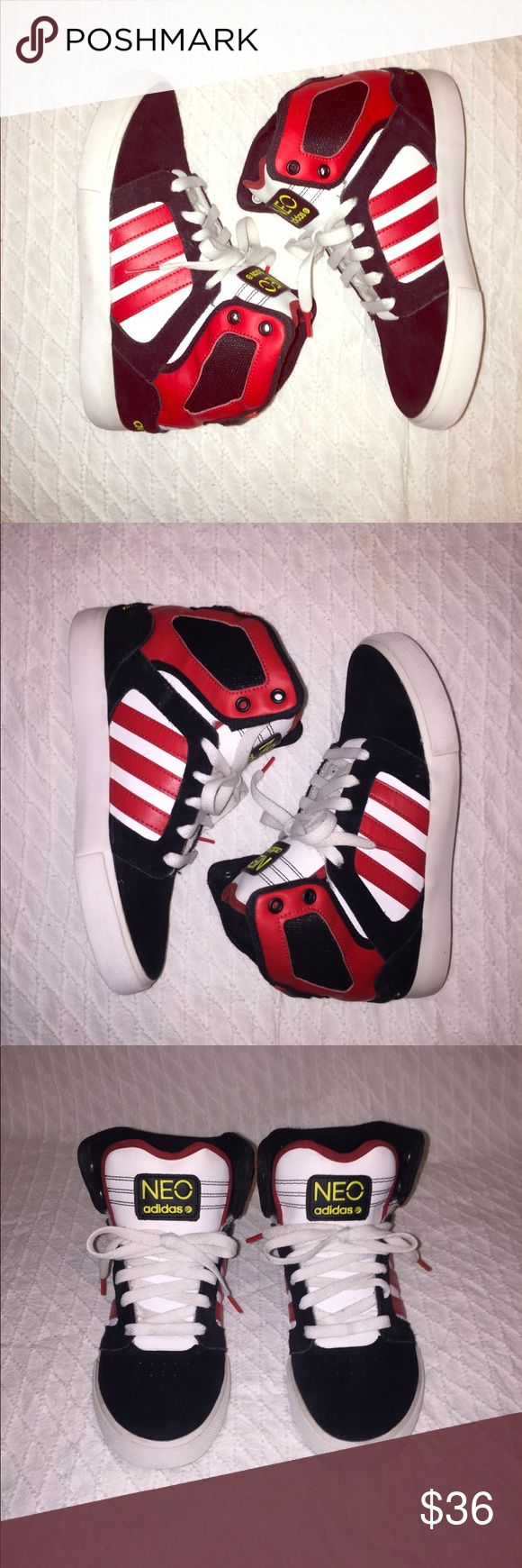 Adidas NEO High Tops Size 7 Adidas Neo High Tops in excellent pre owned condition refer to pictures They have no flaws super cute sneakers  They are a size 5 in boys which makes them a size 7 in women's  Can fit from a 6.6 to a tight 7.5 I would say without a doubt  Colors are white navy blue and red  Even the laces on them are in great condition Looking for a new loving home adidas Shoes Sneakers