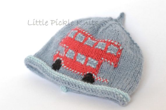 Flat Knitting Patterns : BABY KNITTING PATTERNS beanie hat - Little Bus- newborn to 5 years - flat kni...