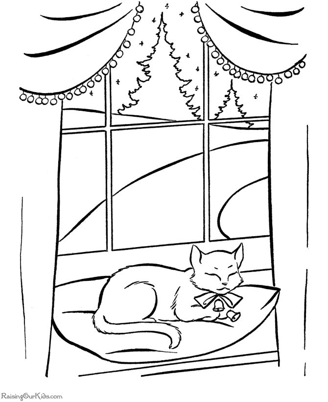 christmas cat coloring pages - photo#15