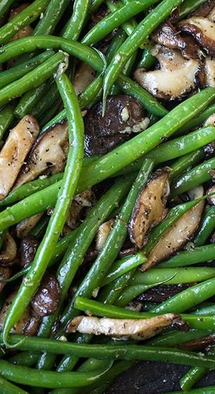 Buttery French Green Beans with Garlic-Sauteed Mushrooms