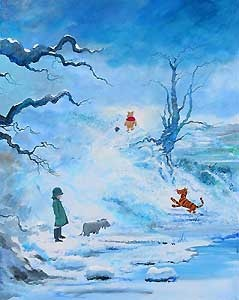 Winnie the Pooh - Winter in The 100 Acre Wood - Harrison Ellenshaw - World-Wide-Art.com - $600.00 #Disney #Ellenshaw