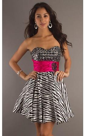 Short Strapless Sweetheart Zebra Print Dress DQ-8103