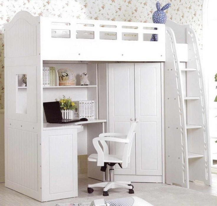 Bedroom, : Excellent Neat White Loft Bed With Work Table And Cupboard Under The Bed For Modern Bedroom Ideas