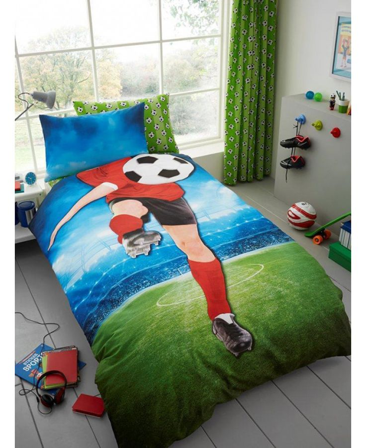 This Footballer Selfie Single Duvet Cover and Pillowcase Set is the perfect finishing touch for a football themed room. Free UK delivery available.