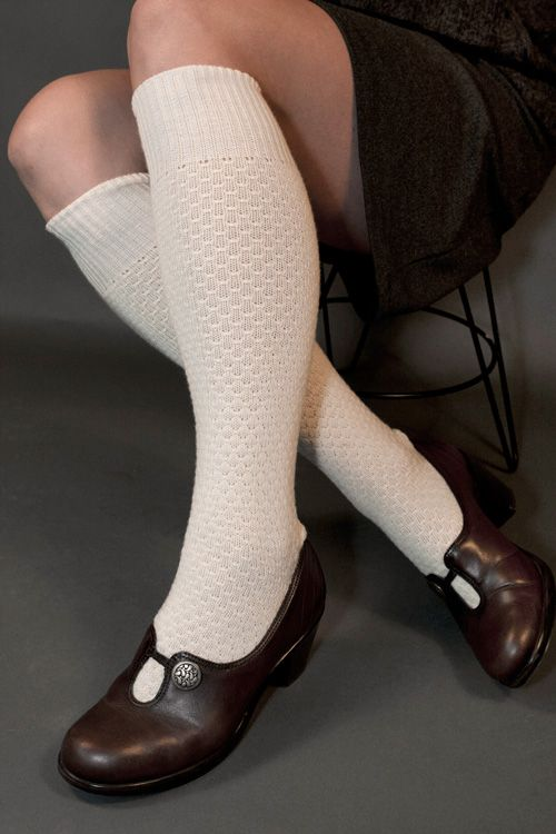 Knee-high socks, of course. Worn with skirts, dresses, and shorts.