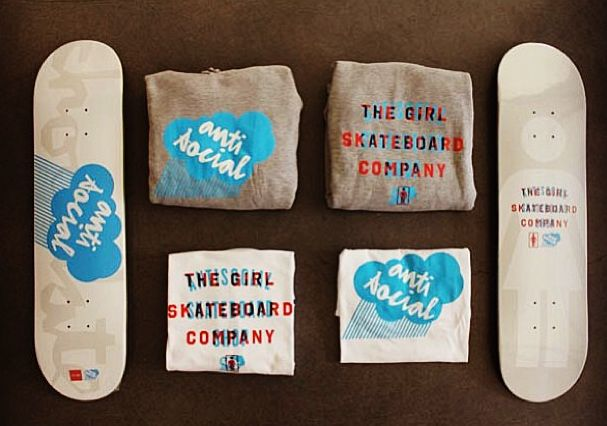 antisocial x chocolate x the girl skateboard company