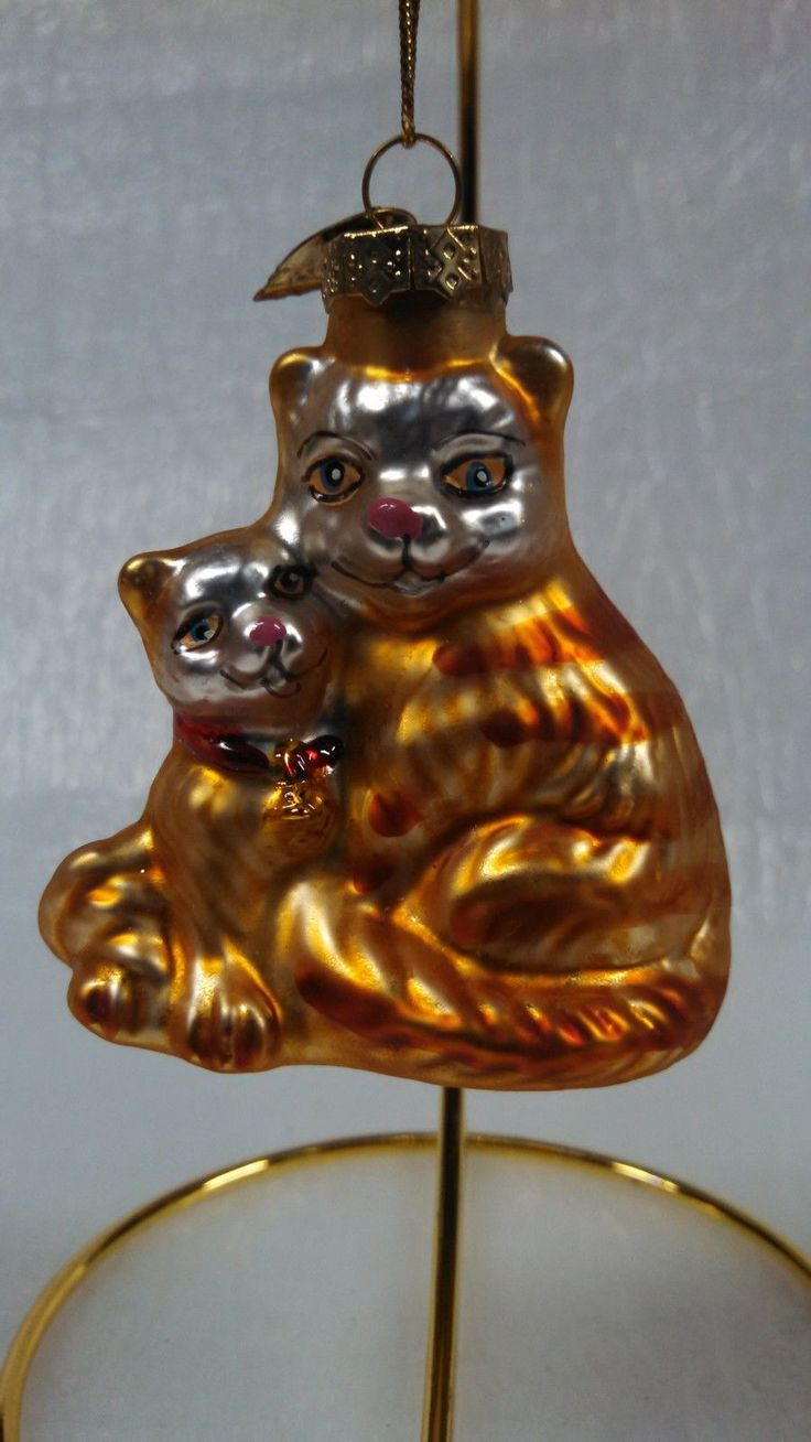 Glass cat ornaments - Kitten Cat Christmas Tree Ornament Thomas Pacconi Mouth Blown Glass Nice Ebay