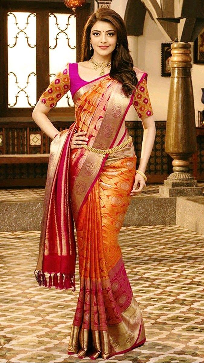 Kajal Aggarwal Half Saree Designs Wedding Saree Blouse Designs Silk Saree Blouse Designs