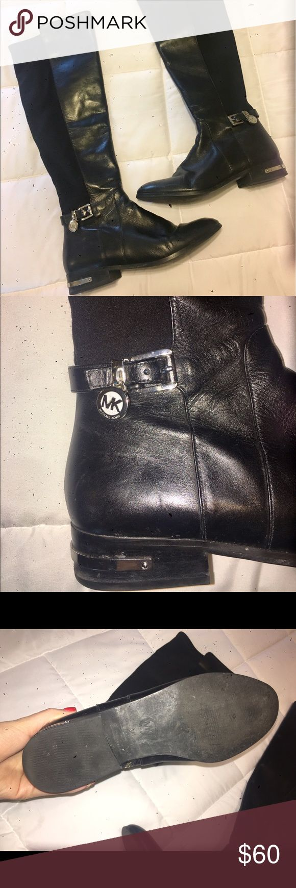 Michael Kors Hamilton black stretch riding boots! Gorgeous black leather riding boots! Received as a gift for Christmas, but too small for me! Worn once- and still in stores! Size 8. Make me an offer! Michael Kors Shoes Combat & Moto Boots