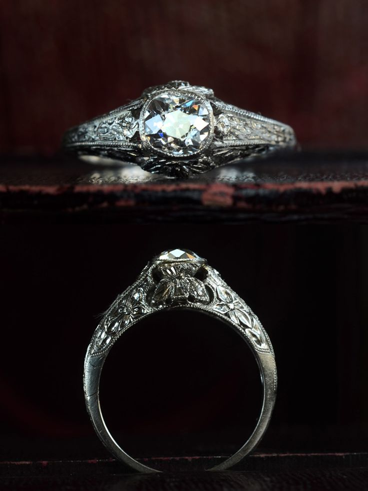1910-20s Edwardian 0.61ct Old Mine Cut Diamond Ring (E-F/SI1), Platinum, $ 2850