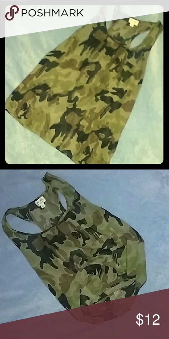 Sheer camo tank Summer! Summer! Summer! Its coming! Cute sheer camouflage top! Worn once, no flaws! Size lg. Zenana Outfitters Tops Tank Tops