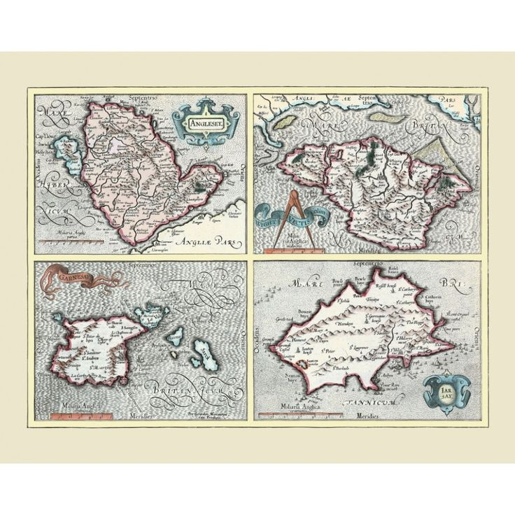 Vintage map of Jersey, Guernsey, Anglesey and the Isle of Wight. Map art for yacht wall deoration. Handmade paper print.