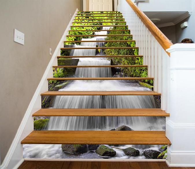 Lighting Basement Washroom Stairs: 3D Beautiful River 1112 Stair Risers