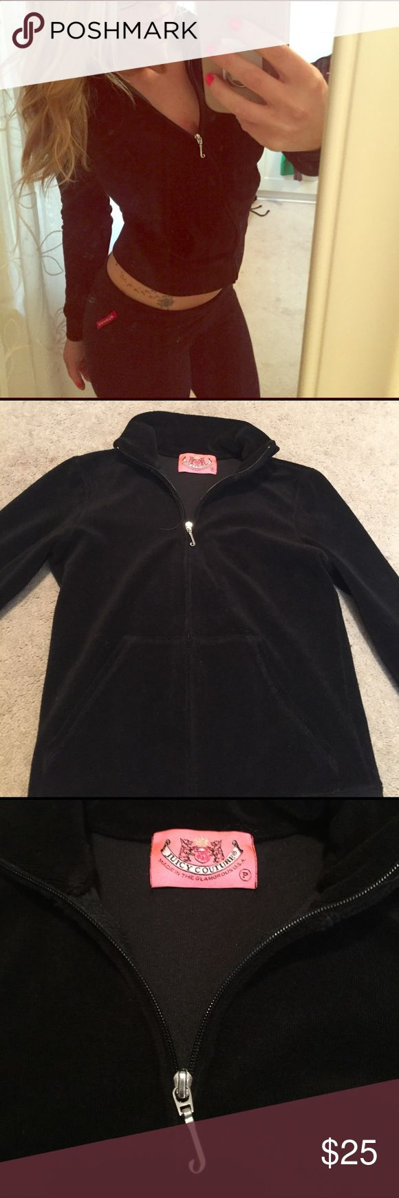 💯 authentic juicy terry cloth zip up jacket Super cute juicy black terry cloth zip up jacket in petite Juicy Couture Other