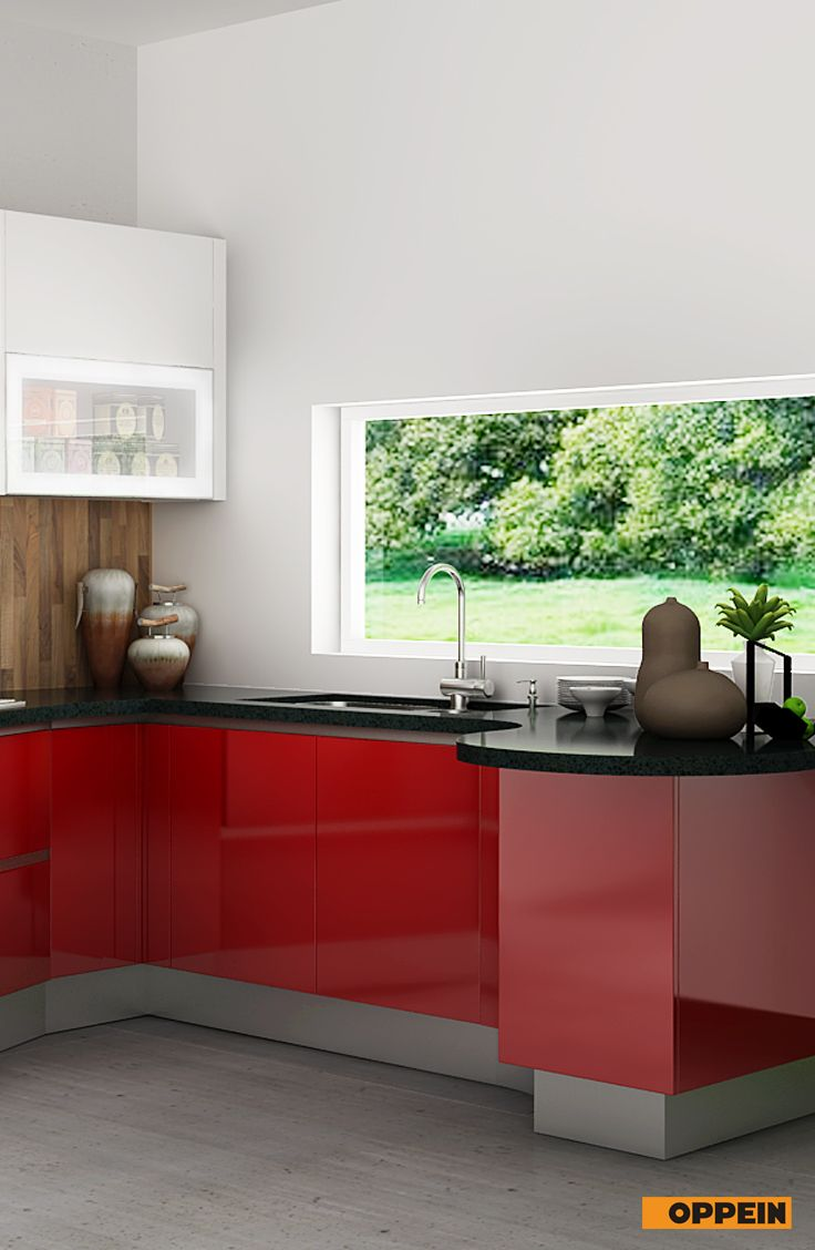 Modern High Gloss Kitchen Cabinet In Red Lacquer Gloss Kitchen