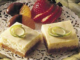 Key lime bars with a coconut cookie crust.