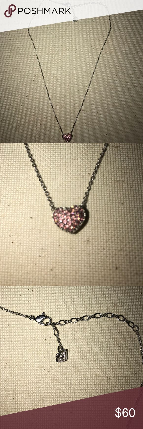 Swarovski necklace Double sided, pink crystal, heart pendant. Never worn Swarovski Swarovski Jewelry Necklaces