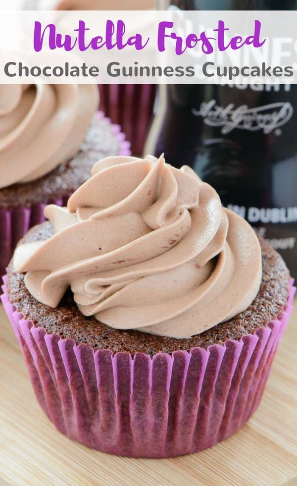 Nutella Frosted Chocolate Guinness Cupcakes are rich homemade chocolate cupcakes infused with Guinness and topped with Nutella buttercream. #nutella #chocolate #cupcakes #guinness #dessert via @introvertbaker