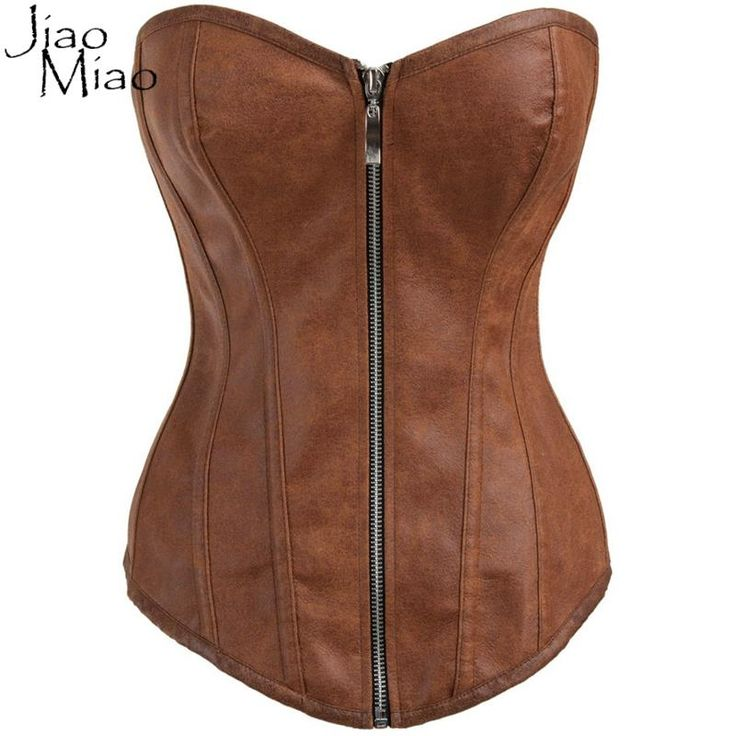 Jiao Miao Zipper Gothic Clothing Sexy Brown Bone Steampunk Overbust Women Waist Trainer Corsets And Bustiers