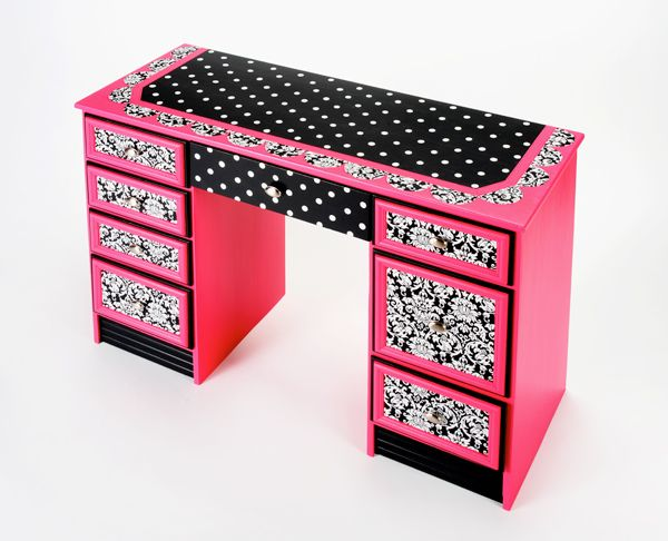 Damask Desk with Mod Podge, Scrapbook paper and paint!