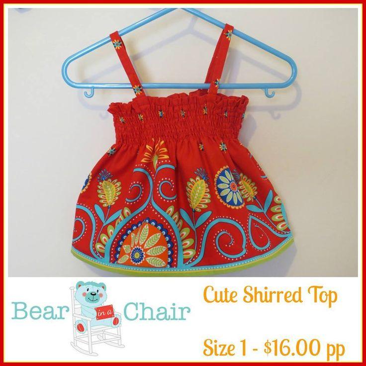 Handmade By Bear In A Chair Cute Shirred Top