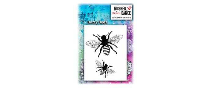 Buzzy Bees. UN-mounted, red rubber stamps.  Size of LARGE bee is about 7 x 4,5 cm. Small bee 4 x 2, 5 cm.