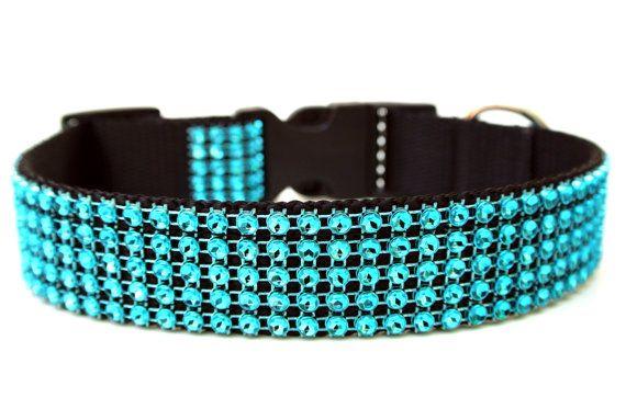 Turquoise Dog Collar 1 Rhinestone Dog Collar by Wagologie on Etsy