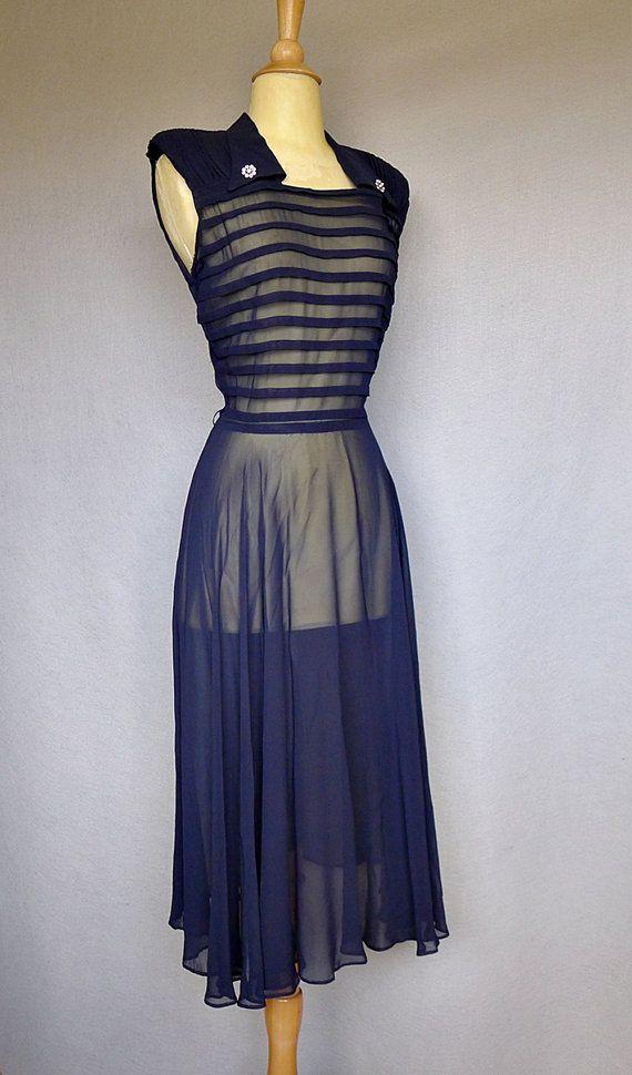 1940s dress / navy blue sheer 40s dress by bitterrootvintage, $125.00